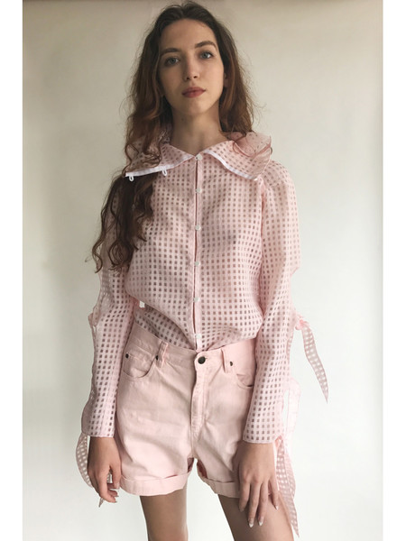 Kahle Handkerchief Sleeve Button Down - Pink