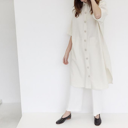 Laurs Kemp Ivory Raw Silk Morgan Shirt Dress