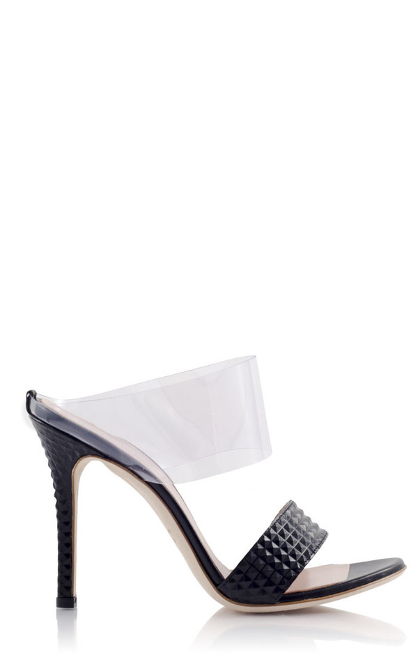 Konstantina Tzovolou Prinicipessa Pyramid Black Leather and PVC Mule