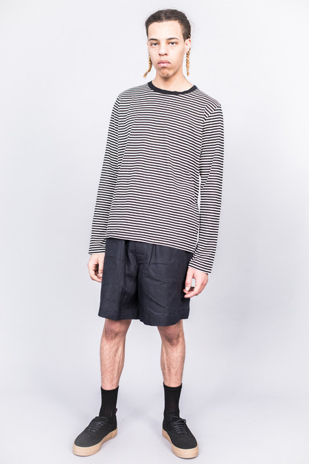 MHL Margaret Howell L/S T-Shirt 4 x 5 Stripe Jersey Black/Ecru