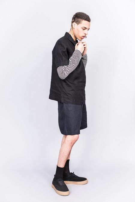 Margaret Howell Woven Polo Shirt Shirting Linen Black