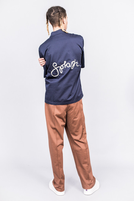Our Legacy Box 2P SL Shirt Navy Washed Satin