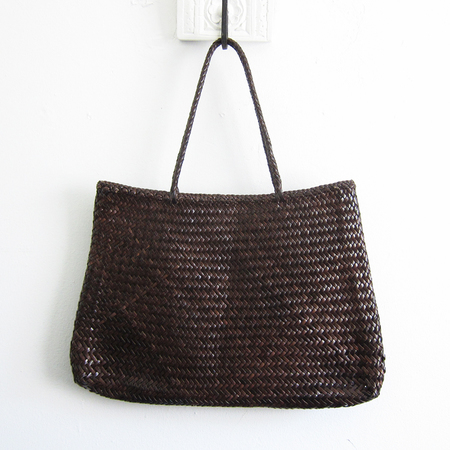 Dragon Diffusion woven leather Sophie tote - dark brown