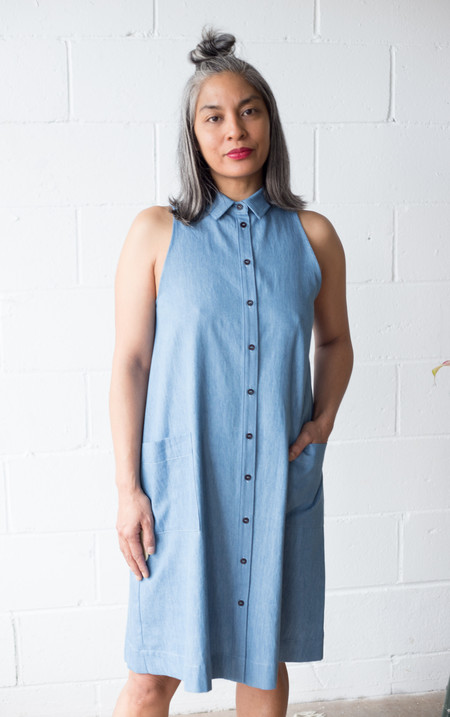 Amanda Moss Lena Dress - Faded Denim