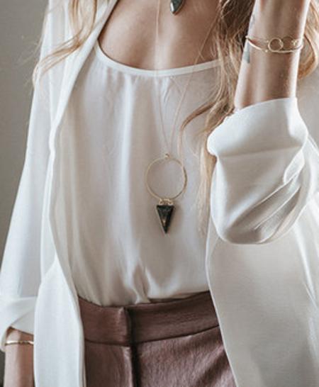 Sarah Mulder Embassy Necklace - Labradorite - Gold or Silver