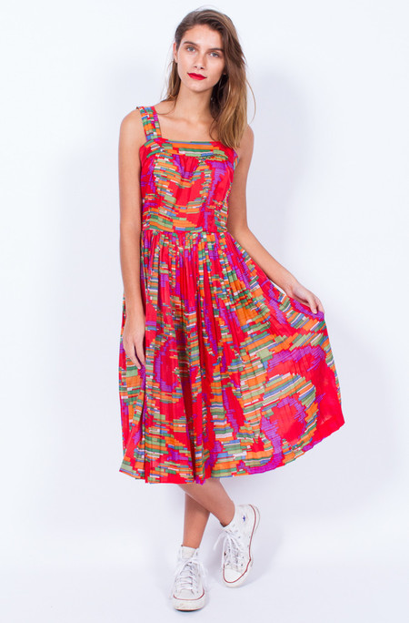 Yo Vintage! ABSTRACT PRINT RED PLEAT SUNDRESS - XS