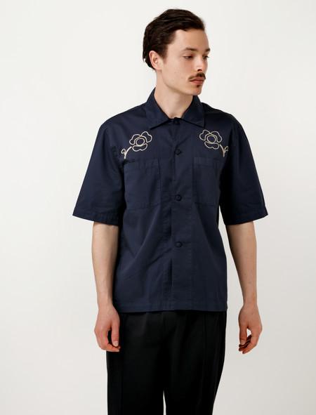 Our Legacy Short Sleeve Box Shirt Navy Washed Satin