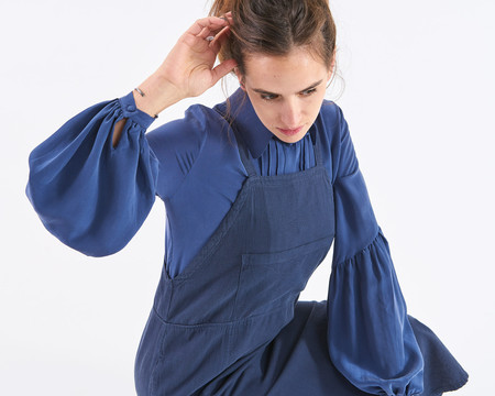 Stoned Immaculate Secretary Blouse - Navy
