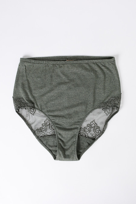 Only Hearts So fine lace-trim high waisted brief in fatigue