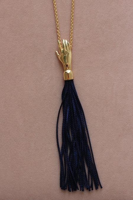 Lady Grey Hand Silk Tassel Necklace Dark Blue