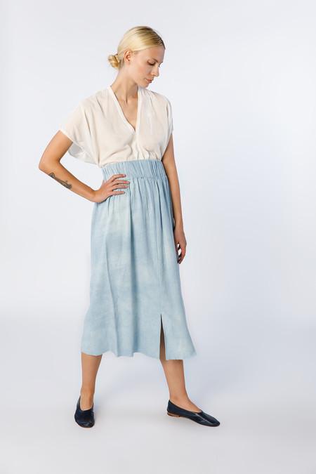 Miranda Bennett Paper Bag Skirt, Silk Noil in Light Indigo
