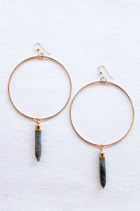 sheila b large hoop laboradite earring