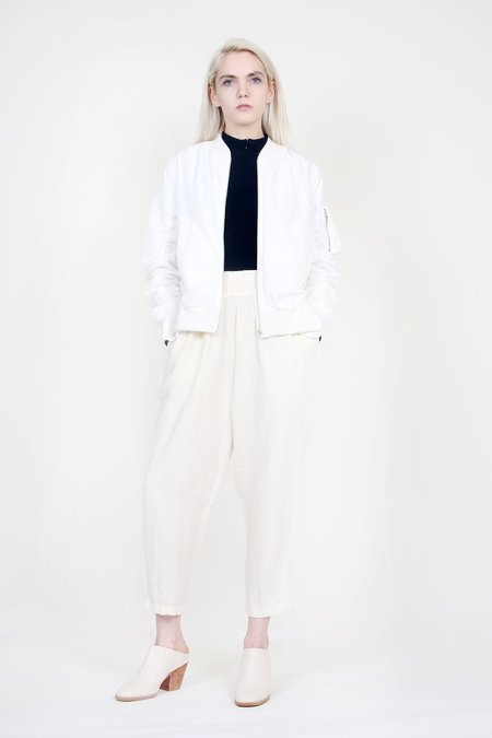 Clu - White Ruffled Bomber Jacket