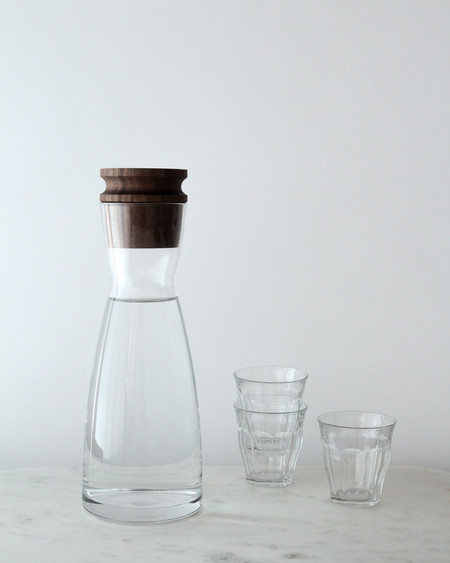 Turnco Woods Italian Glass Carafe with Walnut Wood Stopper