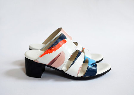 Limited Edition HOPP x Pauline de Roussy de Sales Three Strap Sandal - White