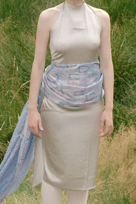 Baserange Silk Apron Dress | Silver