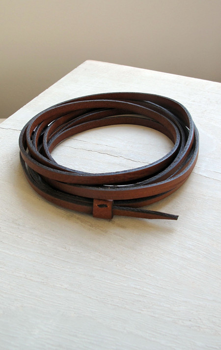 De Palma Leather thin wrap belt in tobacco