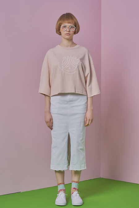 A.A Hand Embroidery Crop T Shirt- Pink