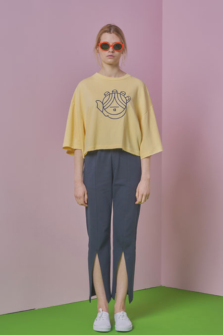 A.A hand embroidery crop t shirt- yellow