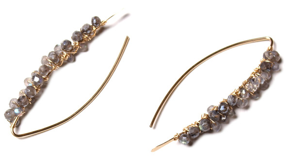 James and Jezebelle Labradorite Gold Paperclip Earrings