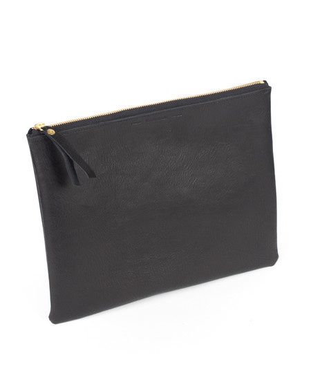Wood&Faulk Black Slouch Oversize Leather Clutch