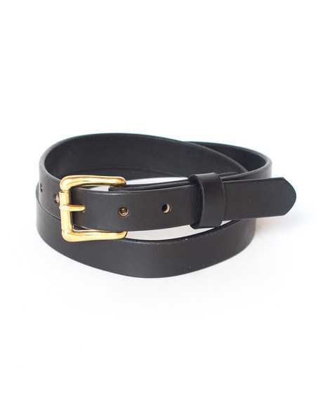 Wood&Faulk Black Slim Martin Belt