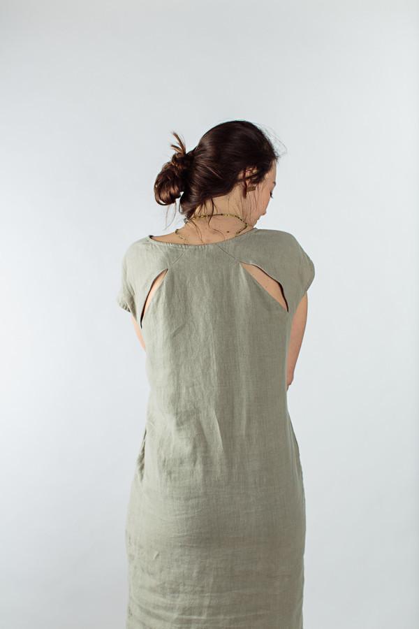 Black Crane back slit open dress