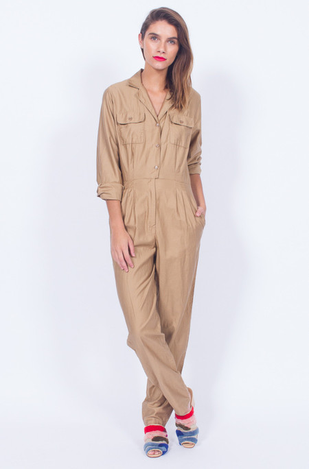 Yo Vintage! TAN COTTON 80s JUMPSUIT - SMALL-MED