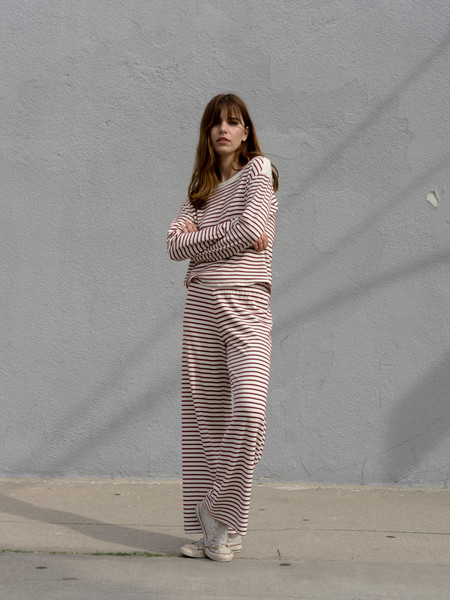 Calder Blake Stripe Clyde Wide Leg Pull-on Pant