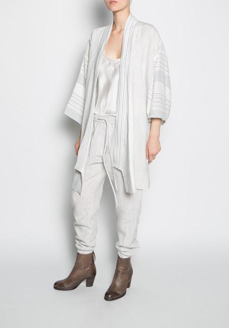 KES Linen Midlength Kimono Robe