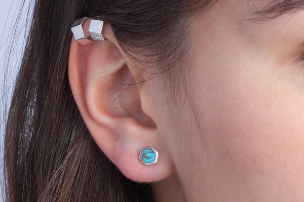 Shahla Karimi Honeycomb Ear Studs with Turquoise
