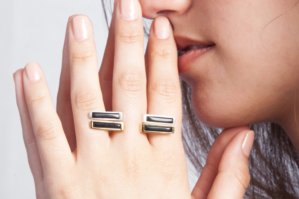 Shahla Karimi In-Between Bars Ring with Onyx