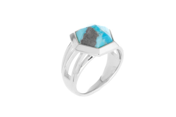Shahla Karimi Hex Set Ring with Turquoise
