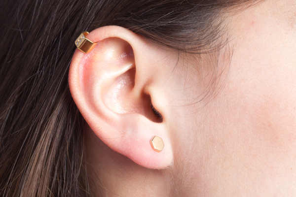 Shahla Karimi Honeycomb Ear Cuff with Diamonds