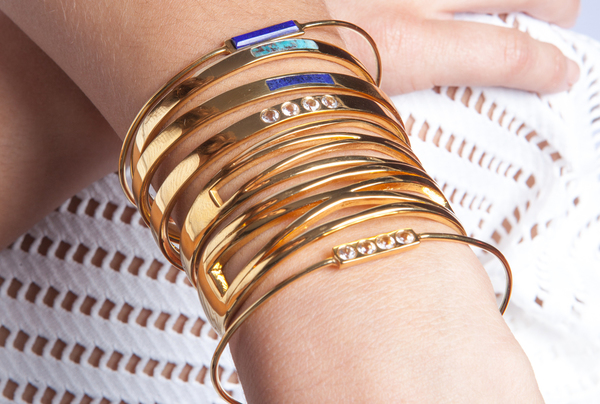 Shahla Karimi Bar Cuff with Lapis