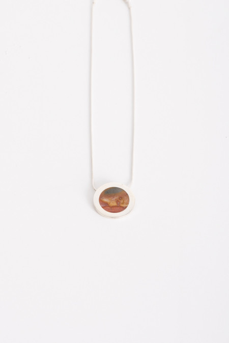 Pamela Love Crater Pendant in Sterling Silver w/ Savannah Jasper Inlay