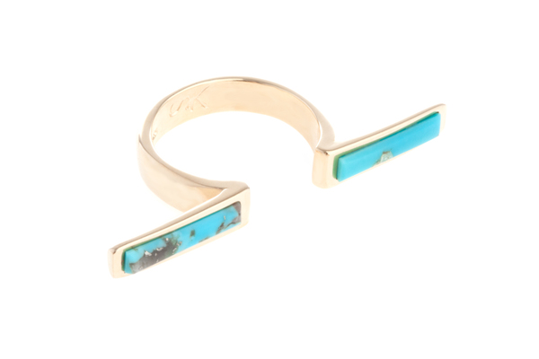 Shahla Karimi In-Between Bars Ring with Turquoise