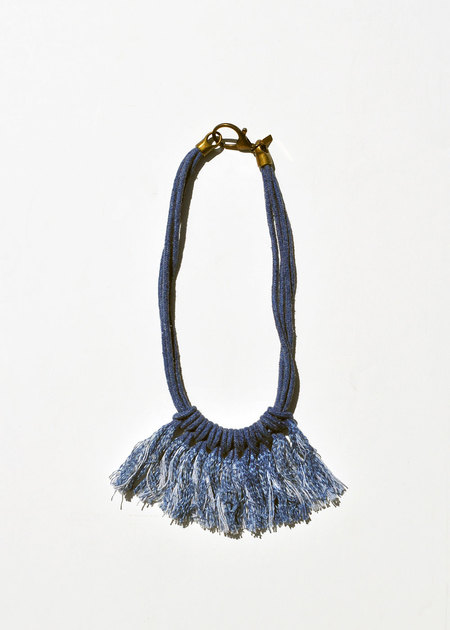 Zelma Rose Saguaro Fringe Necklace - Indigo