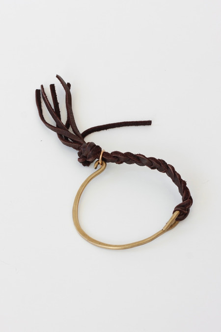 CLP Braided leather and Bronze bracelet