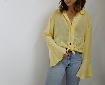 Hey Jude Vintage Lemon Bell-Sleeve Blouse