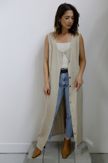 Hey Jude Vintage Oatmeal LInen Dress