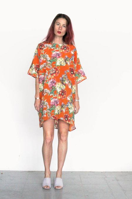 Strathcona Orange Bouquet Silk Tunic Dress