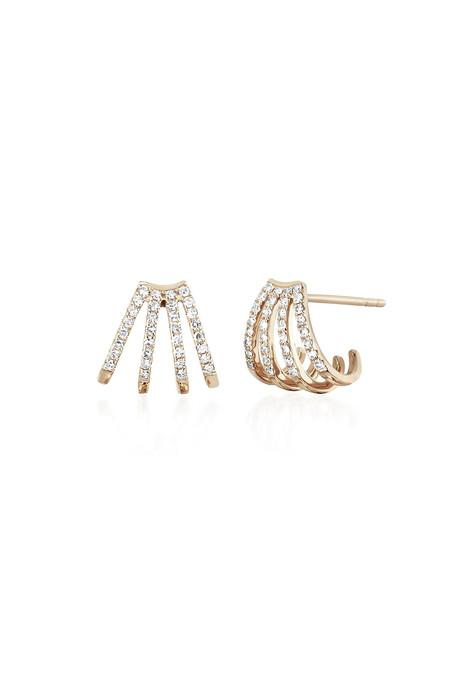 EF Collection Diamond Multi Huggie Earrings - 14k Rose Gold