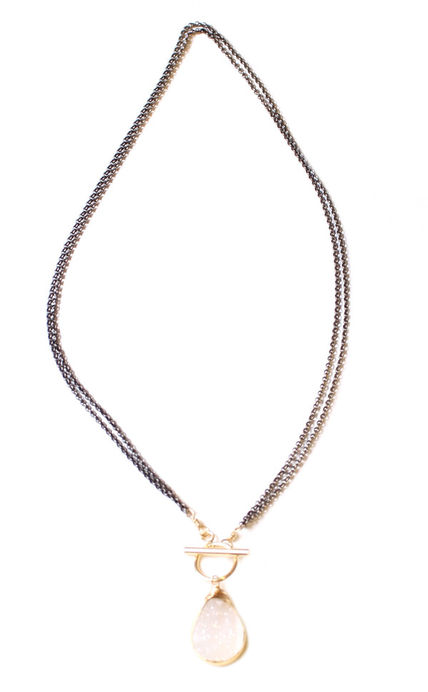 Bloom White Drusy Rolo Toggle Necklace