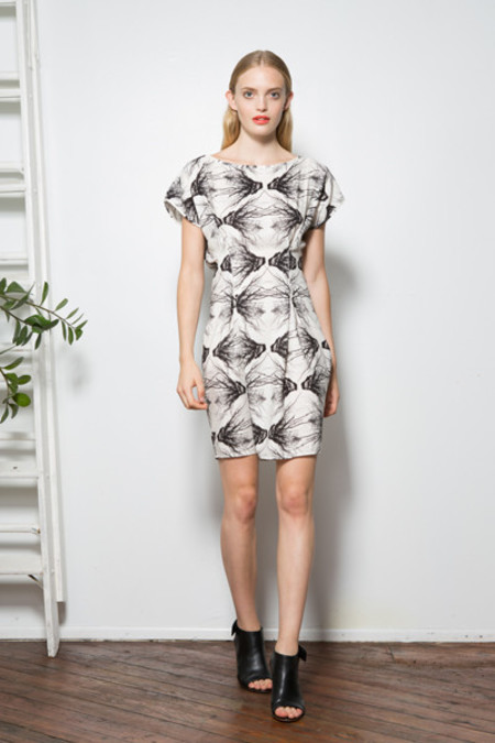 H. Fredriksson Pleat Coral Dress
