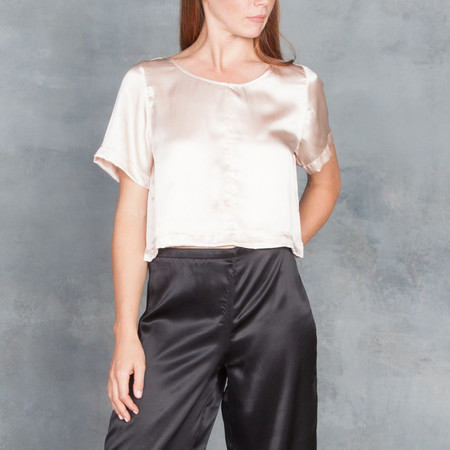 Ali Golden Short Sleeve Silk Crop Top in Blush
