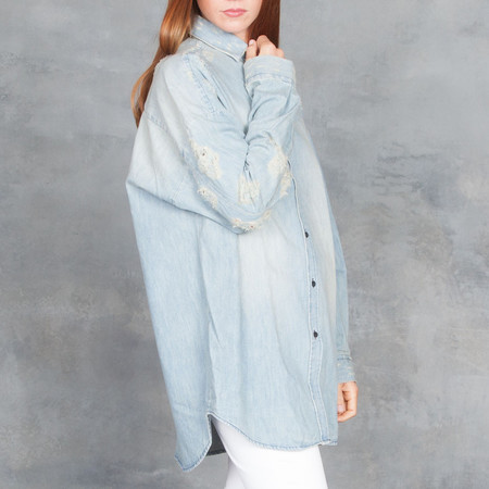 Iro Prune Oversize Denim Top Stone Blue