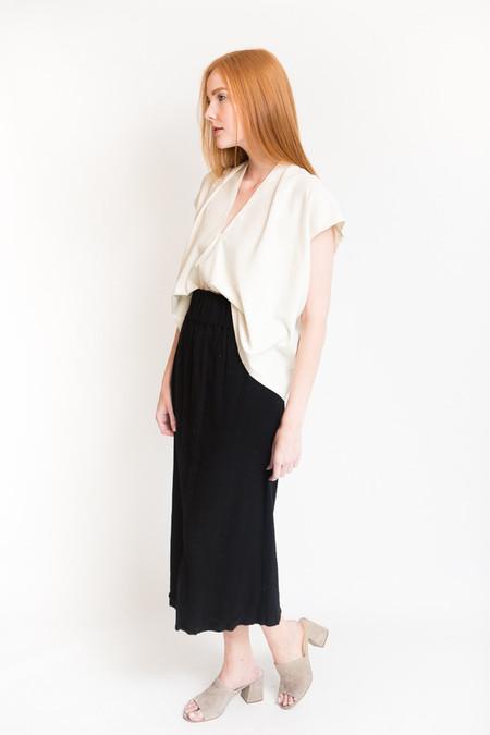 Miranda Bennett Paperbag Skirt - Black Cotton Gauze