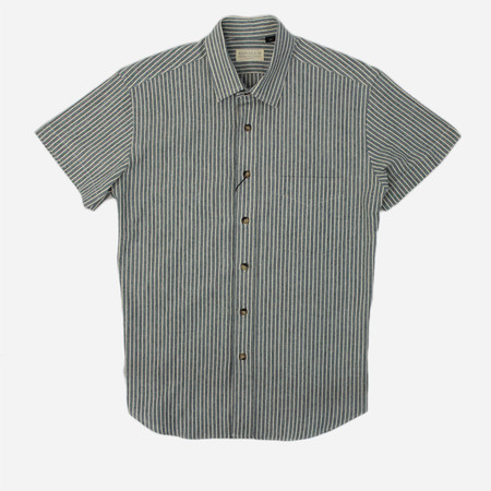 Kovalum Dundas Short Sleeve Shirt - Heavyweight Seersucker Blue/White