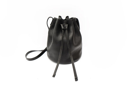 Primecut BLACK LEATHER BUCKET BAG